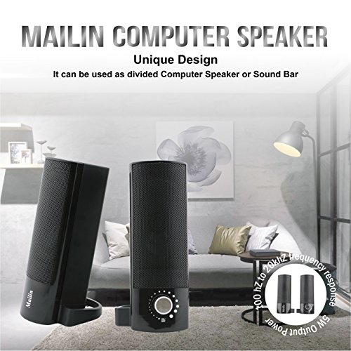 Mailin Detachable Computer Speaker, PC Speaker, Soundbar, Laptop Speaker, USB Power Supply 3.5mm Stereo Input, 5 Watts RMS Total Power with Volume Control (Black) by Mailin (Image #3)'