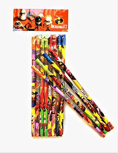 Disney Pixar Incredibles 2 Wooden Pencil Cartoon Character Authentic Licensed School Party Bag Fillers (12)