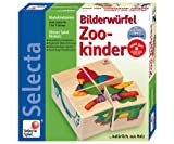 : Selecta Wooden Picture Cube Puzzle Blocks - Zoo Babies (Made in GERMANY)