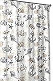 beach cottage decor Nautical Ocean Sea Life Theme Canvas Fabric Shower Curtain: Brown, Beige Grey, White