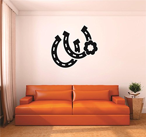"Design with Vinyl RAD V 345 1 Horseshoe Cowgirl Flower Western Cowboy Living Room Bedroom Bathroom Picture Art Home Decor Decal, 12"" x 18"", Black"
