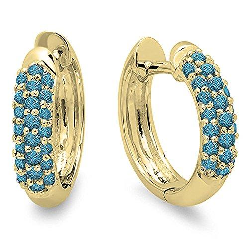 0.30 Carat (ctw) 14K Yellow Gold Round Blue Diamond Ladies Pave Set Huggies Hoop Earrings 1/3 CT