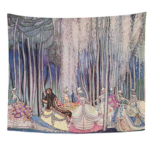 Semtomn Tapestry Artwork Wall Hanging Kay Pretty Fairytale Princess Nielsen Girls Wall Storybook Vintage 50x60 Inches Home Decor Tapestries Mattress Tablecloth Curtain Print