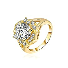 Onefeart Gold Plated Ring for Girls Women Wedding Band White Cubic Zirconia 1.4CMx1.5CM US Size 6-8
