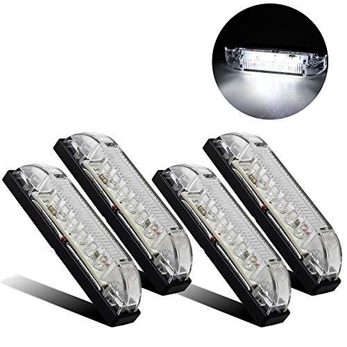 (Utility Strip Light - 4pcs White 4 inch Vehicles Decoration LED Side Maker Lights Bar Sealed Thin Line Led Boat Trailer Lights Marine Led Marker Lights Clearance Lamps)
