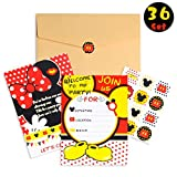 PANTIDE 36Pcs Mickey Minnie Mouse Party Invitation Cards for Kids Birthday with Envelopes and Mickey Mouse Stickers-5.90'x4.30' Double Sided Printed,Fill-in the Blank,Mickey Party Supplies Party Favor