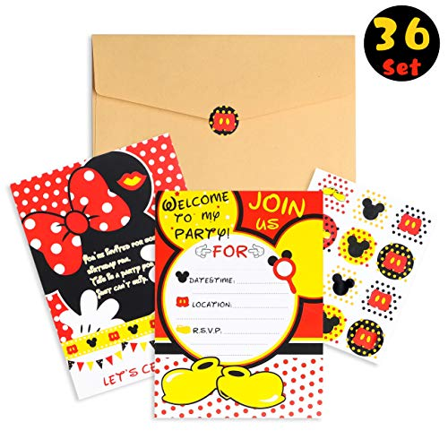 PANTIDE 36Pcs Mickey Minnie Mouse Party Invitation Cards for Kids Birthday with Envelopes and Mickey Mouse Stickers-5.90
