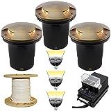 Low Voltage LED 3 In Ground Uplight Landscape Lighting Kit - PGC3 (Bronze - Brass Mushroom)