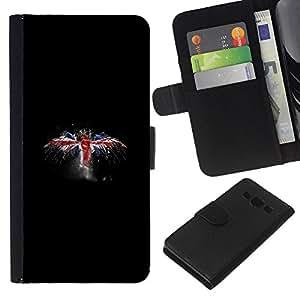 YiPhone /// Tirón de la caja Cartera de cuero con ranuras para tarjetas - Reino Unido Bandera del Grunge - Samsung Galaxy A3