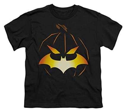 5df3b4a5 Amazon.com: Batman -- Halloween - Jack O'Bat Logo Youth T-Shirt ...