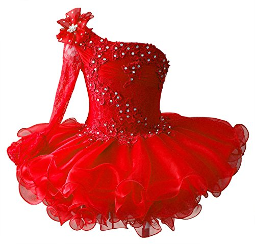HuaMei Toddler Girls Single Long Sleeve Birthday Party Cupcake Pageant Dresses 5T US Red (Long Sleeve Cupcake Birthday)