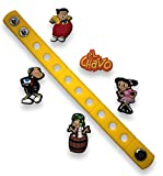 Jibbitz for Crocs Shoes by Nenistore  Cute Shoe Charms Plug Accessories for Crocs & Bracelet Wristband Party Gifts  El Chavo (Set of 5 pcs) FREE 01 Silicone Wristband 7 Inches