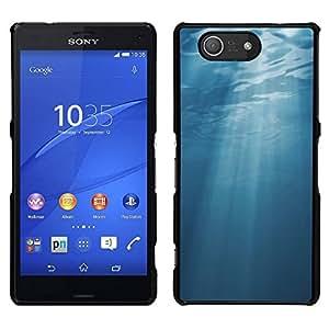 EJOY---Cubierta de la caja de protección para la piel dura ** Sony Xperia Z3 Compact ** --Light Blue Sea Underwater Sun