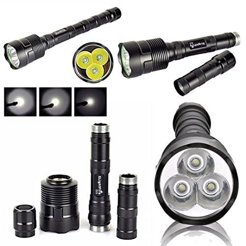 3t6 Flashlight - Handheld Flashlights,Lookatool XLightFire 3T6 Super Bright 6000Lm 3x XM-L T6 LED 5-Mode 18650 Torch