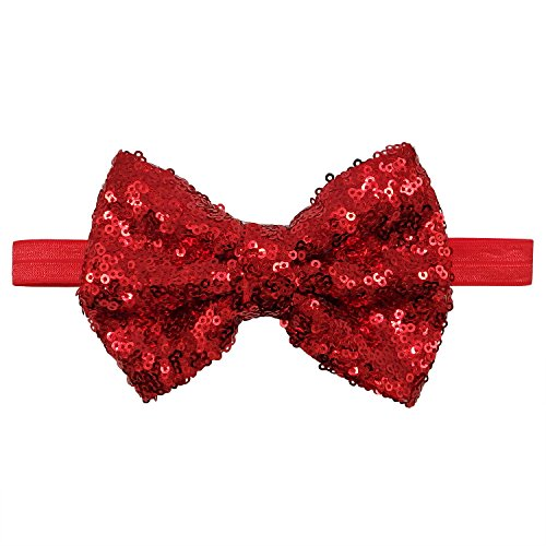 Rarelove Baby Girls Headband Red Bowknot Sequin Hair Bands Accessories ()