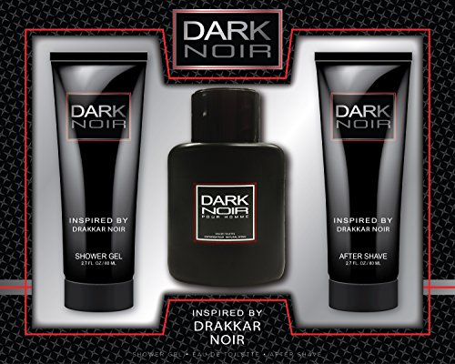 Dark Noir Men 3 Piece Fragrance Gift Set, Includes. Eau De Toilette, After Shave and Shower Gel Inspired By Drakkar Noir by Watermark Beauty