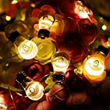 tuangexportabl Light String, Transparent Bulb Warm White Light 20 Lights Use AA Batteries Suitable Indoor Outdoor Christmas Home Decoration Eight Lighting Modes Remote Control to Adjust Light