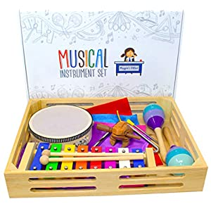 Magpie's Office Children's Wooden Musical Instrument Set – in Tune Glockenspiel (Xylophone), Maracas, Tambourine, Sheet Music, Dance Scarves, Frog Guiro Tone Block and More – Learn to Play Music