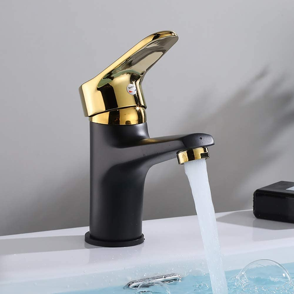 Lavatory Faucet with Deck Plate WJJS Brass Single Handle Bathroom Faucet Brushed Gold with Matte Black Bathroom One Hole Vanity Sink CUPC NSF Certified Lead Free Brass Construction