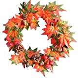 Iusun Pumpkin Berry Maple Leaf Fall Door Wreath Door Wall Ornament Thanksgiving Day Christmas Decoration 12inch / 16inch / 20inch (8inch, A5)