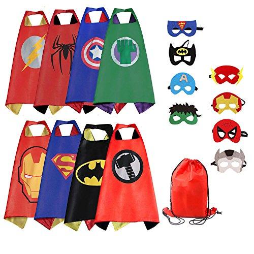 RioRand Cartoon Dress up Costumes Satin Capes with Felt Masks for Boys (8PCS Capes) (8-Pack (Cartoon Dress Up Costumes)
