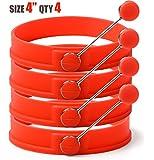 """Sunsella 4"""" Silicone Egg & Pancake Rings - 4 Pack"""