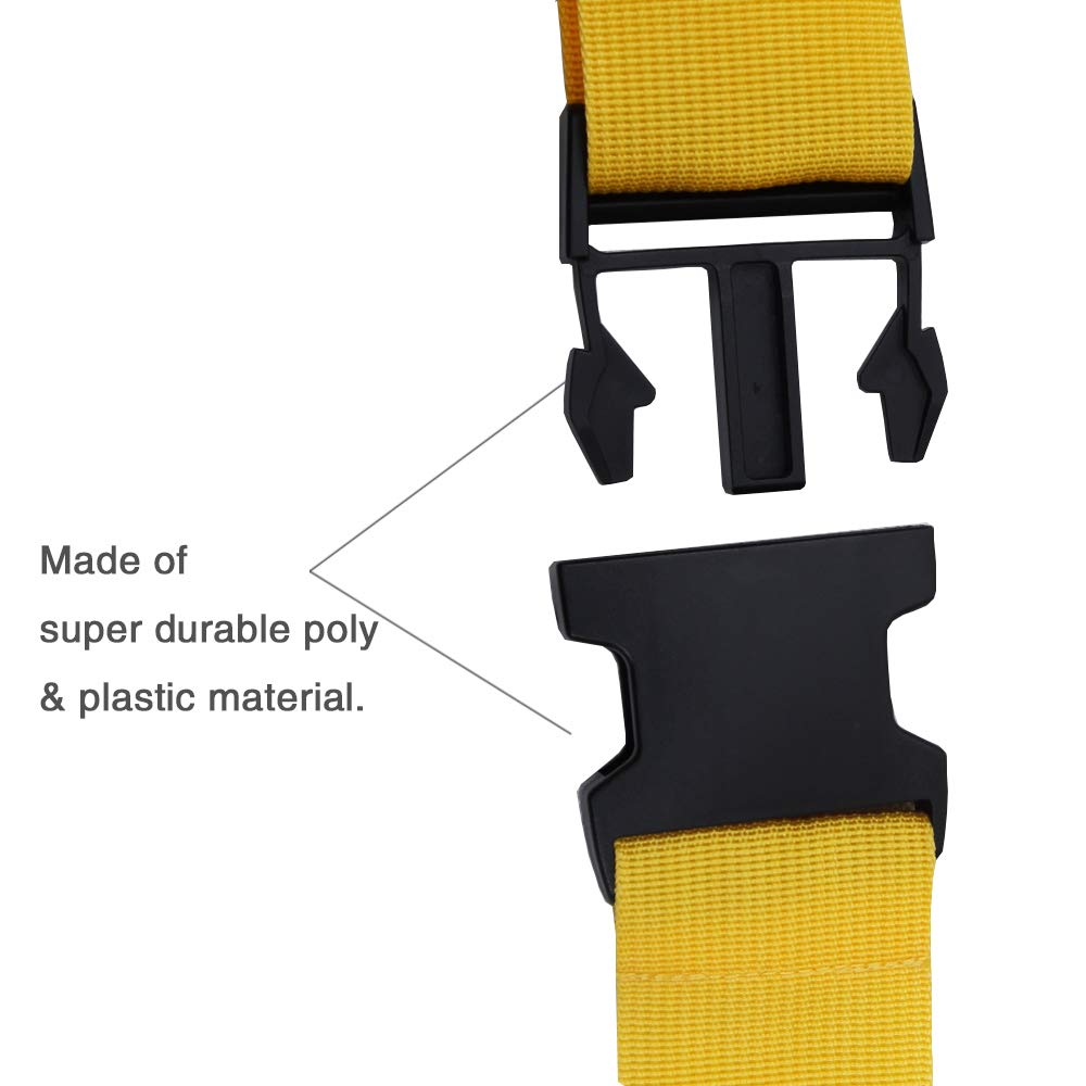 Adjustable Travel Luggage Strap, Nylon Suitcase Belt Luggage Tage Set to Keep Your Luggage Organized and Secure, 43''-78'' Adjustable/Yellow by muyan (Image #3)