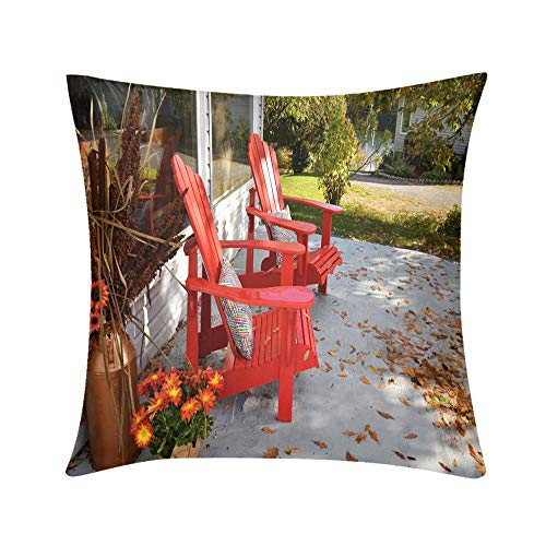Double Sided Digital Printing Personalized Custom Throw Pillow Two Red Chairs on Patio in The Autumn New Brunswick Canada Design for Sofa Bedroom Office Car Decorate Pillow