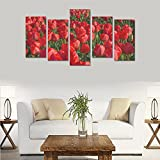 Hotel or Spa Personalized Design Tulips Fields Red Flowers Sea Canvas Print Home Fashion Mural Bedroom Oil Painting Decoration 5 Piece Canvas painting (No Frame)