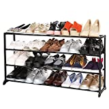 Home Room Saved 20-Pair 4/7/10 Layers Freestanding Shoe Rack Tower Cabniet for Bedroom Entryway Walkway (4 Layers, Black)