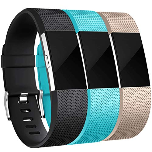 Maledan Bands Replacement Compatible with Fitbit Charge 2, 3-Pack, Black/Teal/Champagne, Large