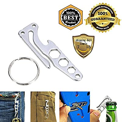 Meanhoo Pocket Multi-Function Stainless Steel Tool Keychain Bottle Opener Keychain Hook EDC Camping Survival Tools