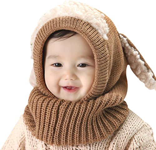 Baby Girls Boys Winter Hat Scarf Earflap Hood Scarves Skull Caps Coffee One Size (Puppy Infant)