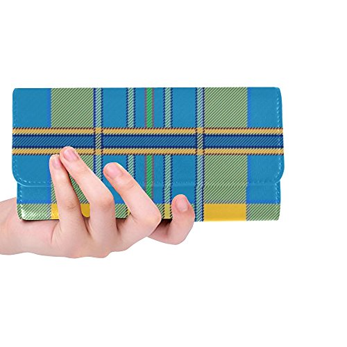 Unique Custom Plaid Tartan Scottish Blue Yellow Spring Green Women Trifold Wallet Long Purse Credit Card Holder Case Handbag ()