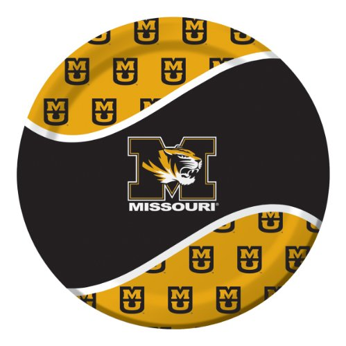 8-Count Round Paper Dinner Plates, Missouri Tigers -