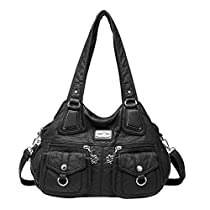 Angelkiss Handbags for Women Washed PU Leather Womens Purses Convertible Shoulder Bags Crossboy Bags 1593/2 Carbon