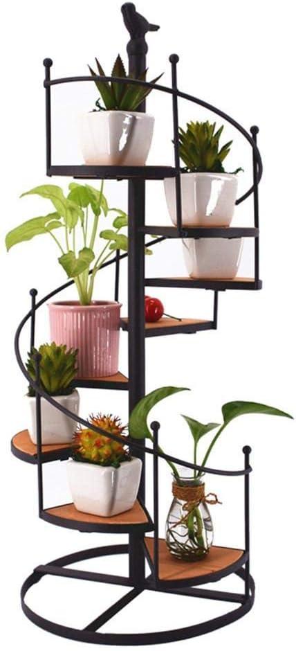 SISHUINIANHUA Flor Pot Estante Hierro Forjado Escalera De Caracol Display Stand Decorativo Flor Sostenedores: Amazon.es: Hogar
