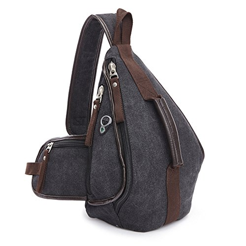 Women Men Jxth Sport Business Chest Gym Shoulder Hiking Daypack Bag Backpack Canvas Bags Crossbody Leisure Outdoor Travel Black Sling x7FngCwqOx