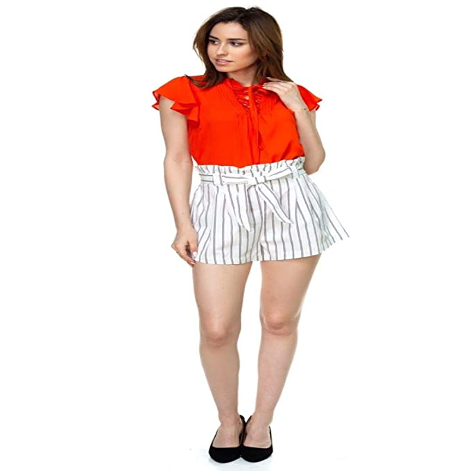 2f8cd56bfa Royal Weavery Pin Stripe Belted Mini Shorts Women Summer Pencil ...