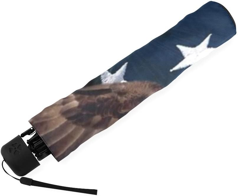 foldable Umbrella Custom American Flag with Eagle Compact Travel Windproof Rainproof
