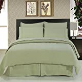 Royal Hotel's California-King size Solid Sage 600-Thread-Count 3pc Duvet-Cover-Sets and 1pc Siberian Goose Down Alternative Comforter 100 percent Cotton