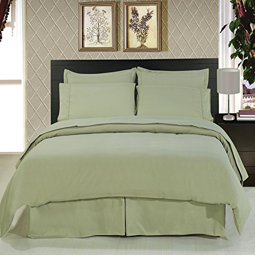 Royal Hotel's Solid Sage 600-Thread-Count 4pc Queen Bed Sheet Set and 3pc Duvet-Cover-Sets 100-Percent Cotton, Sateen Solid, Deep Pocket (Thread 600 Sage Hotel)