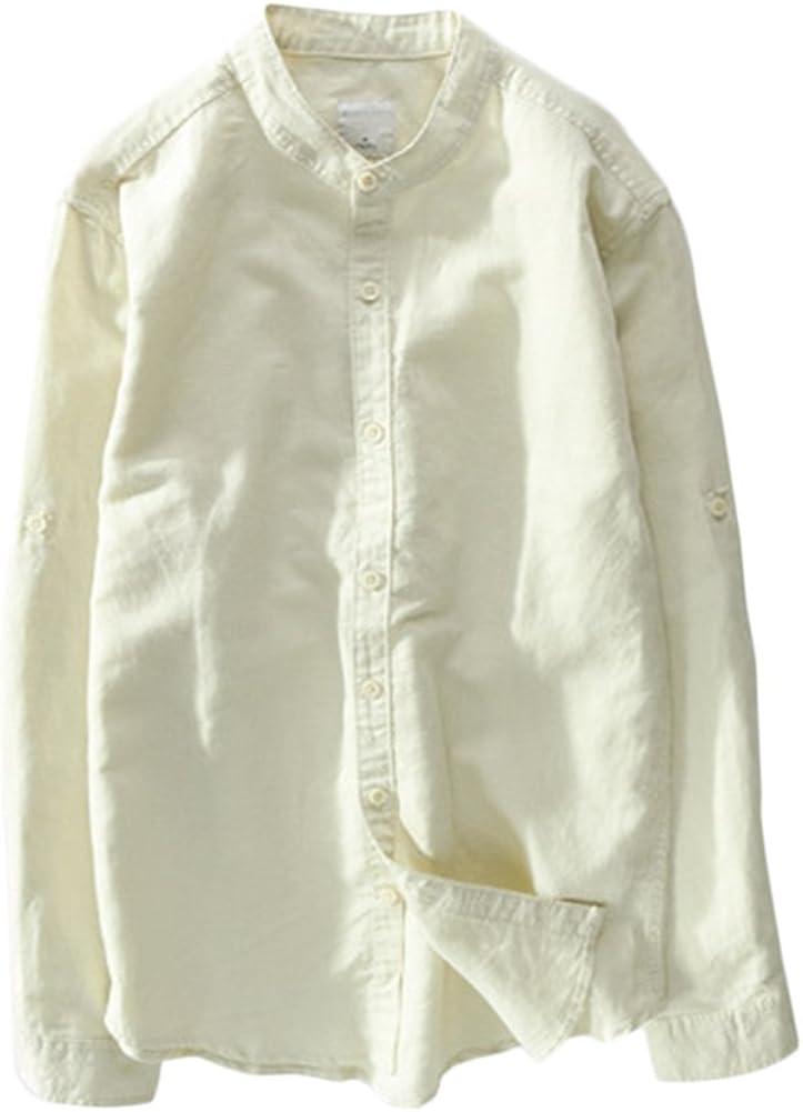 Camicia Uomo Puro Lino Tinta Unita Bianco Slim Collo Coreano