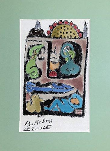 - Bedri Rahmi Eyuboglu Mold Print Hand Brush Turkish Bath Hamam Signed Original