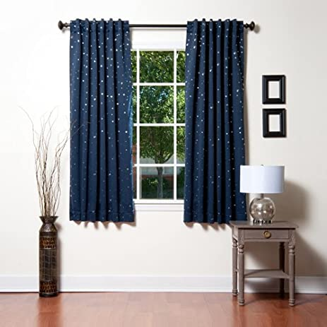 Best Home Fashion Star Print Thermal Insulated Blackout Curtains   Back  Tab/ Rod Pocket
