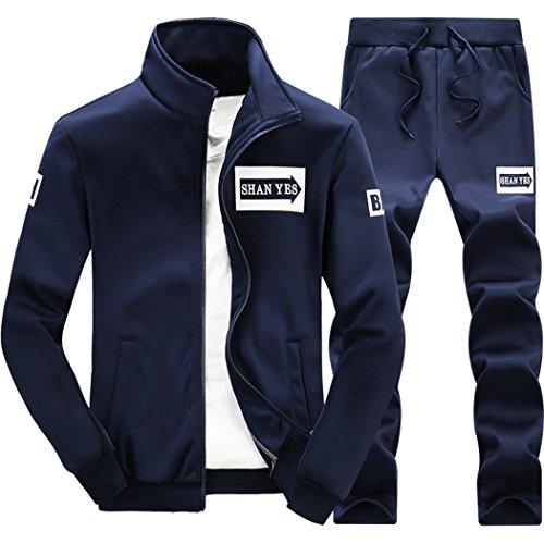 M-LORD (TM) Mens Long Sleeve Sweatsuit Jogger Baseball Jacket & Pants D/B s -