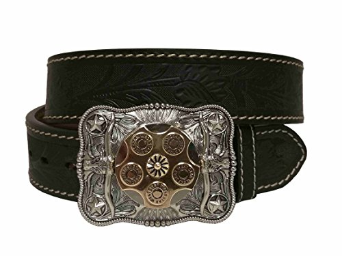 (Classic Western Extra 0.25'' Thickness 2'' Width Spinnable Rotate Revolver Cowboy Longhorn Buckle Deisng Buckle Genuine Belt)