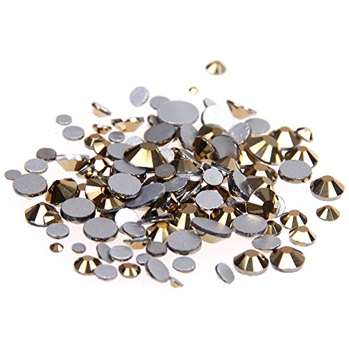 Nizi Jewelry Crystal Rhinestones Strass Glass Stones For Nails Art Decorations ss3-ss34 And Mixed Sizes Aurum Color (Mixed Sizes 1000pcs) (Strass Glass)