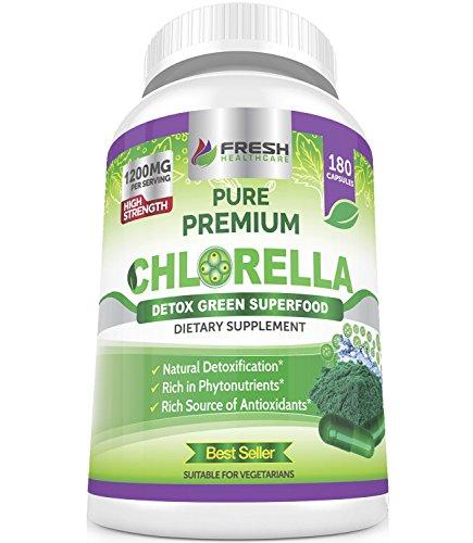 Organic Chlorella Capsules 100% Vegetarian - 180 Pure Vegan Powder Capsules  - No 1 Source of Chlorophyll & CGF-1200mg Natural Detox Superfood - Rich