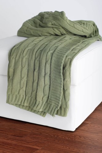 Rizzy Home Cable Knit Throw Blanket, Olive (Throw Olive)